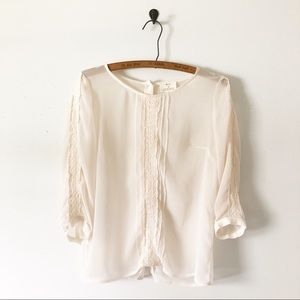 3/$30 Urban Outfitters Sheer Lace Back Button Top